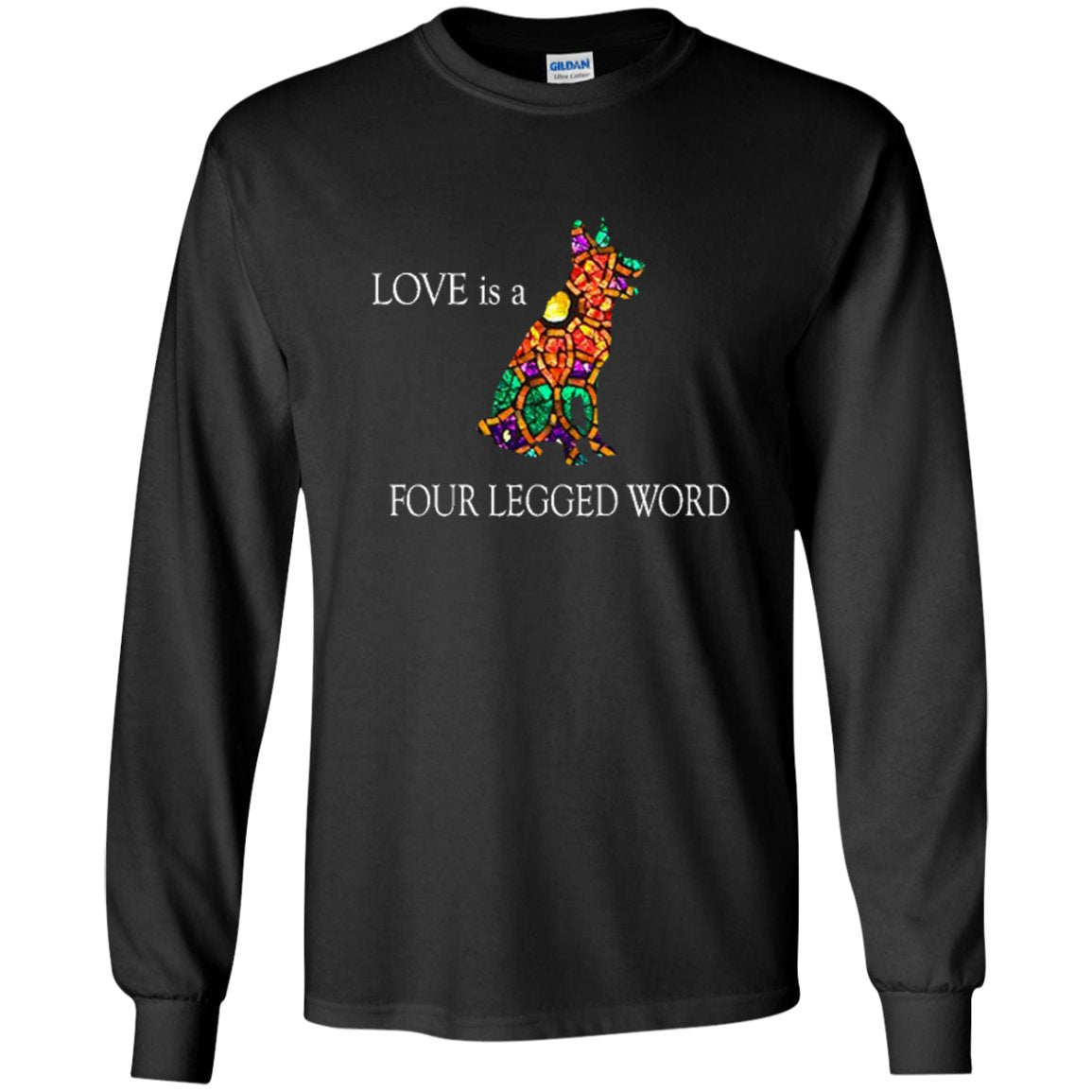 Cool German Shepherd T Shirt - Love is a 4 letter word Mosaic.png