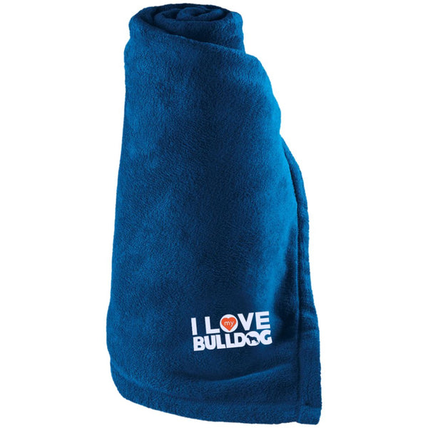 I Love My Bulldog - Large Fleece Blanket