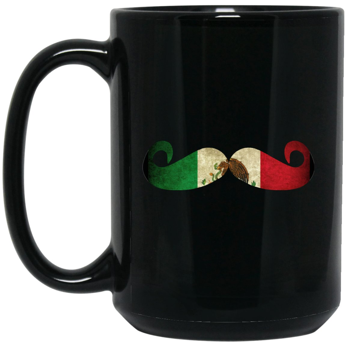Cool Coffee Mug Mexican Flag Moustache Mug for Mexican Pride Large Black Mug