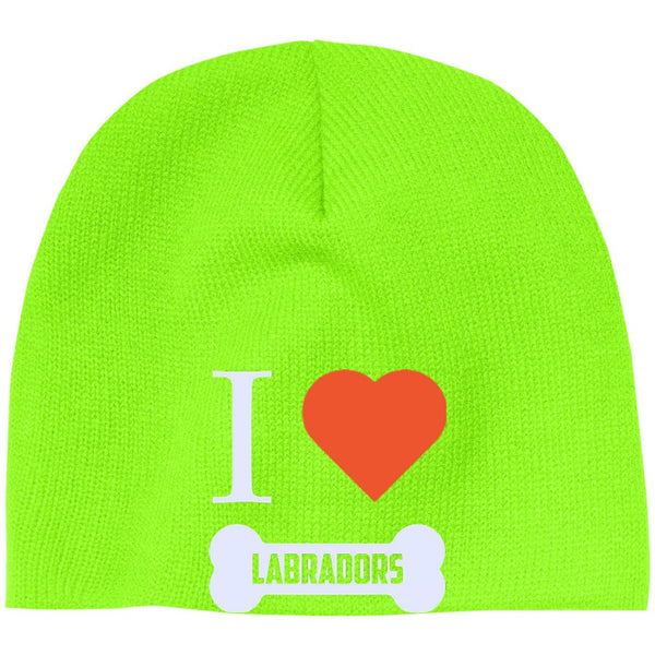 Labrador - I LOVE MY LABRADOR (BONE DESIGN) - Beanie (Embroidered)