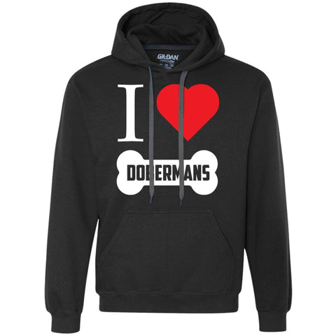 Doberman - I LOVE MY DOBERMAN (BONE DESIGN) - Heavyweight Pullover Fleece Sweatshirt