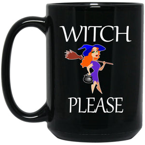 Funny Witch Please Large Black Mug