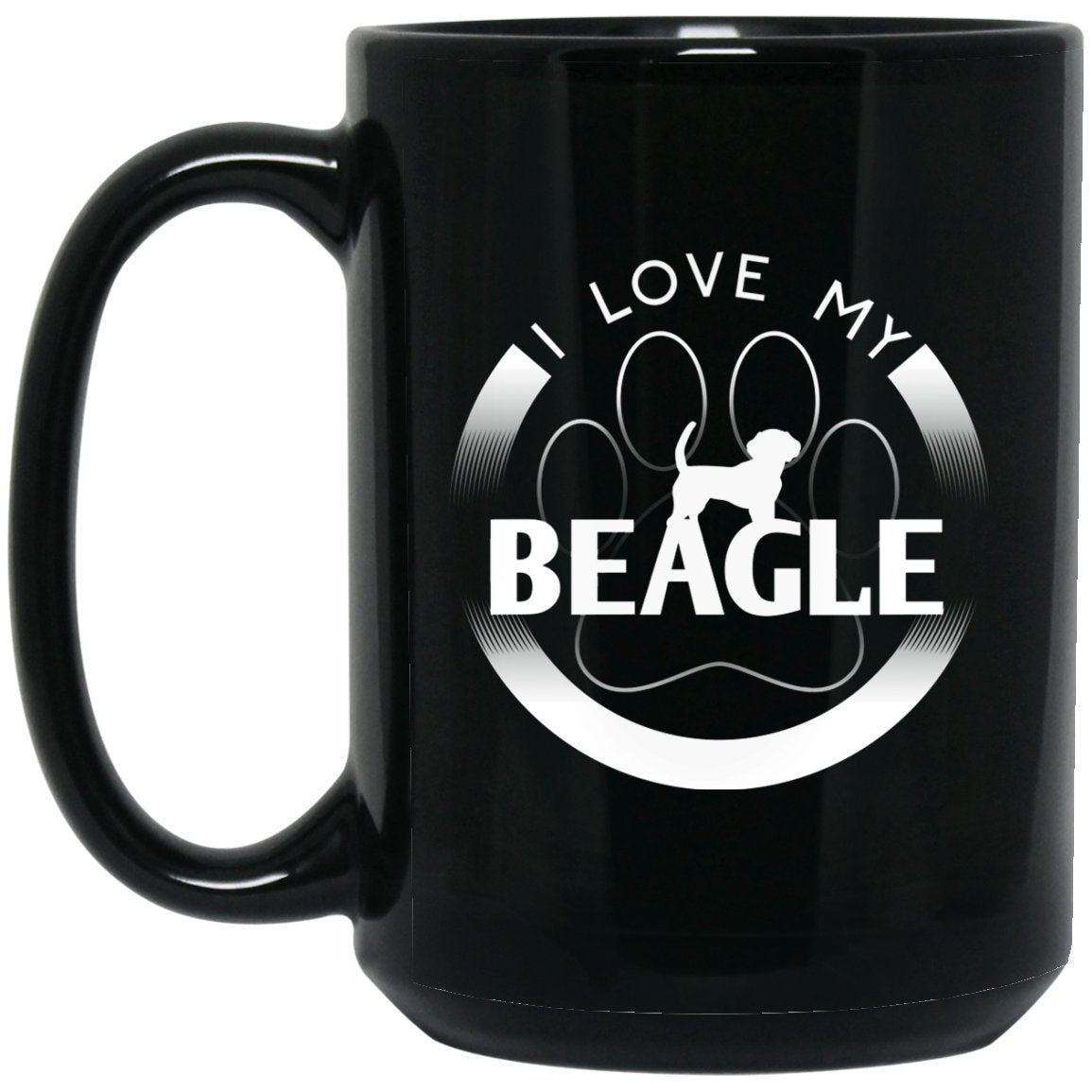Awesome Beagle - I Love My Beagle Circle Paw Simple Logo Dog Silhouette Large Black Mug