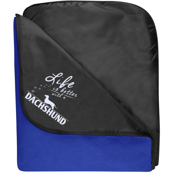 Dachshund - Life Is Better With A Dachshund Paws - Fleece & Poly Travel Blanket (Embroidered)