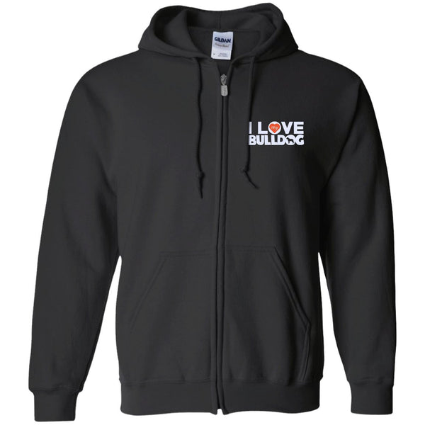 I Love My Bulldog - Embroidered Zip Up Hooded Sweatshirt