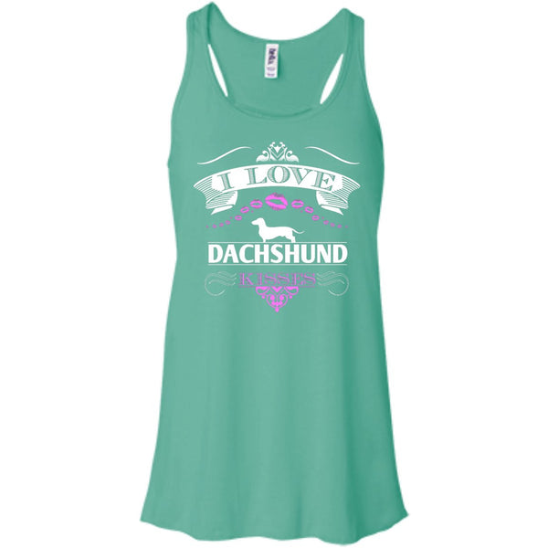 I LOVE DACHSHUND KISSES - FRONT DESIGN - Bella+Canvas Flowy Racerback Tank