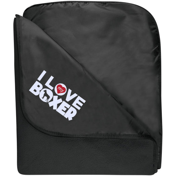I Love My Boxer - Fleece & Poly Travel Blanket (Embroidered)