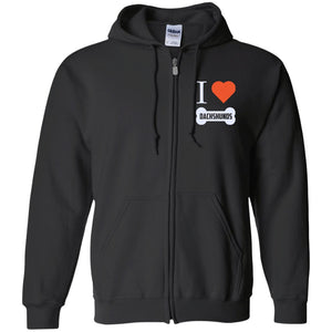 Dachshund - I LOVE MY Dachshund (BONE DESIGN) - Embroidered Zip Up Hooded Sweatshirt