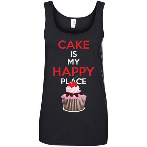 Funny Baking Gift - Cake is My Happy Place Ladies Tank Top