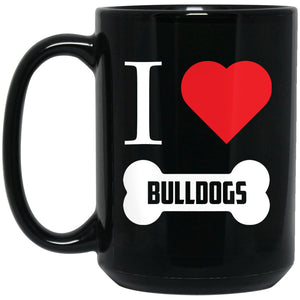 Funny Bulldog Mug - I Heart Bulldogs Bone Large Black Mug