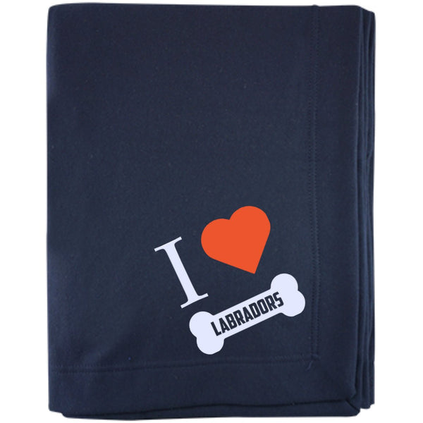 Labrador - I LOVE MY LABRADOR (BONE DESIGN) - Embroidered Sweatshirt Blanket