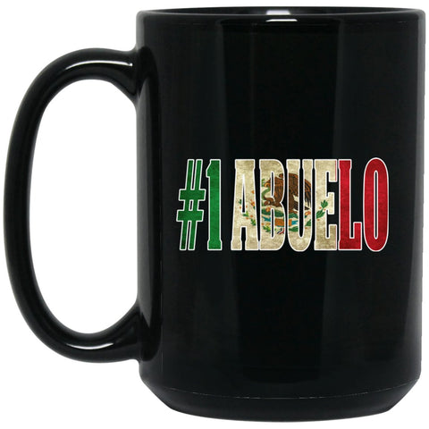 Cool Abuelo Gift Coffee Mug For Mexican Flag Mug for Mexican Pride Vintage Outline Large Black Mug