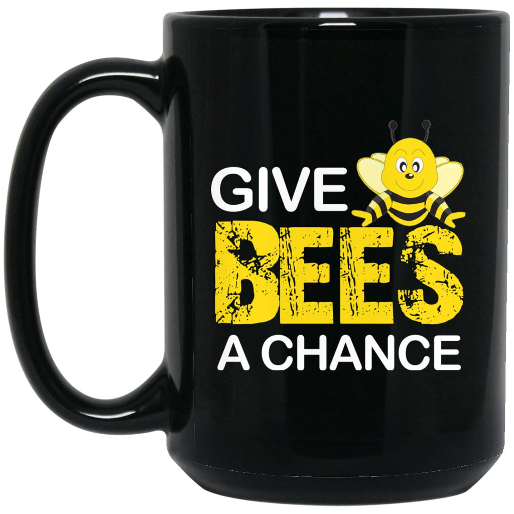 Beekeeper Gift - Give bees a chance Large Black Mug