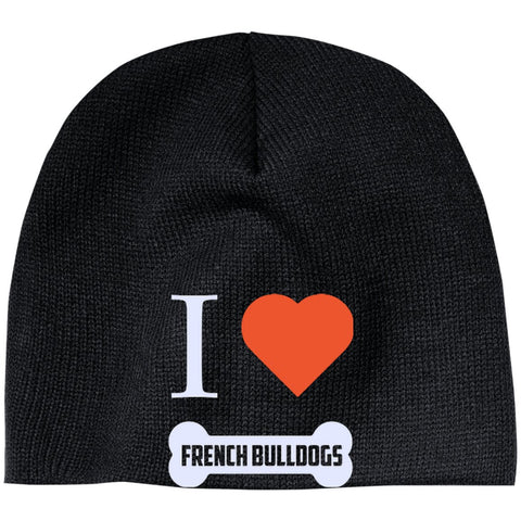 French Bulldog - I LOVE MY FRENCH BULLDOG (BONE DESIGN) - Beanie (Embroidered)