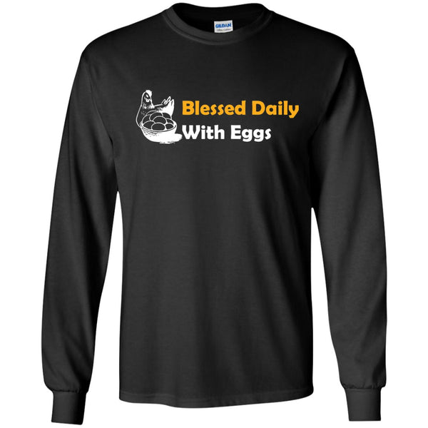 Funny Chicken Shirt - Blessed Daily  LS Ultra Cotton Tshirt
