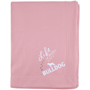 Bulldog - Life Is Better With A Bulldog Paws - Embroidered Sweatshirt Blanket