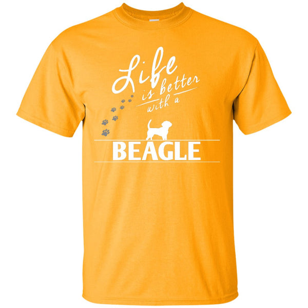 Beagle - Life Is Better With A Beagle Paws -  Custom Ultra Cotton T-Shirt