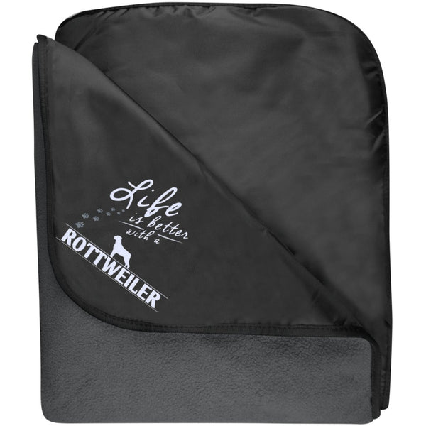 Rottweiler - Life Is Better With A Rottweiler Paws - Fleece & Poly Travel Blanket (Embroidered)
