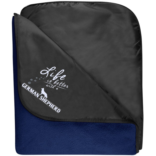 German Shepherd - Life Is Better With A German Shepherd Paws - Fleece & Poly Travel Blanket (Embroidered)