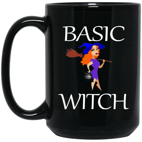 Cute Basic Witch Large Black Mug