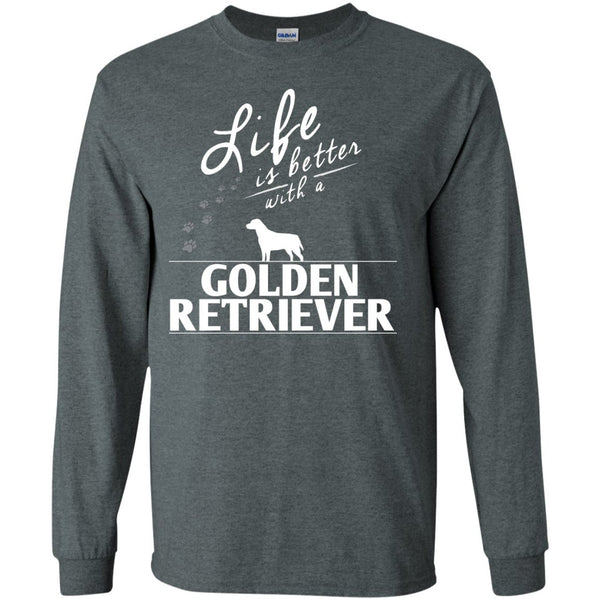 Golden Retriever - Life Is Better With A Golden Retriever Paws - LS Ultra Cotton Tshirt