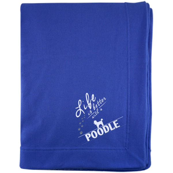 Poodle- Life Is Better With A Poodle Paws - Embroidered Sweatshirt Blanket