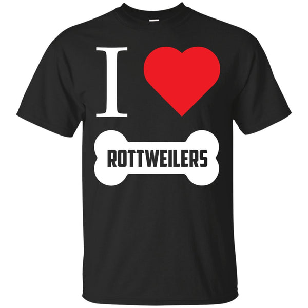 Rottweiler - I LOVE MY ROTTWEILER (BONE DESIGN) -  Custom Ultra Cotton T-Shirt