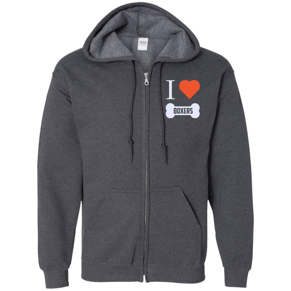 Boxer - I LOVE MY BOXER (BONE DESIGN) - Embroidered Zip Up Hooded Sweatshirt