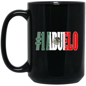 Cool Abuelo Gift Coffee Mug For Mexican Flag Mug for Mexican Pride Outline Large Black Mug