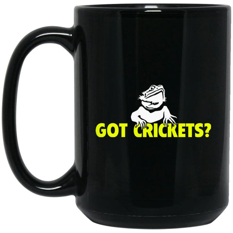 Bearded Dragon - Got Crickets? (Yellow) Large Black Mug