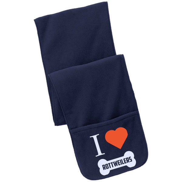 Rottweiler - I LOVE MY ROTTWEILER (BONE DESIGN) - Fleece Scarf with Pockets