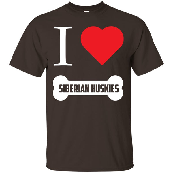 Siberian Husky - I LOVE MY SIBERIAN HUSKY (BONE DESIGN) -  Custom Ultra Cotton T-Shirt