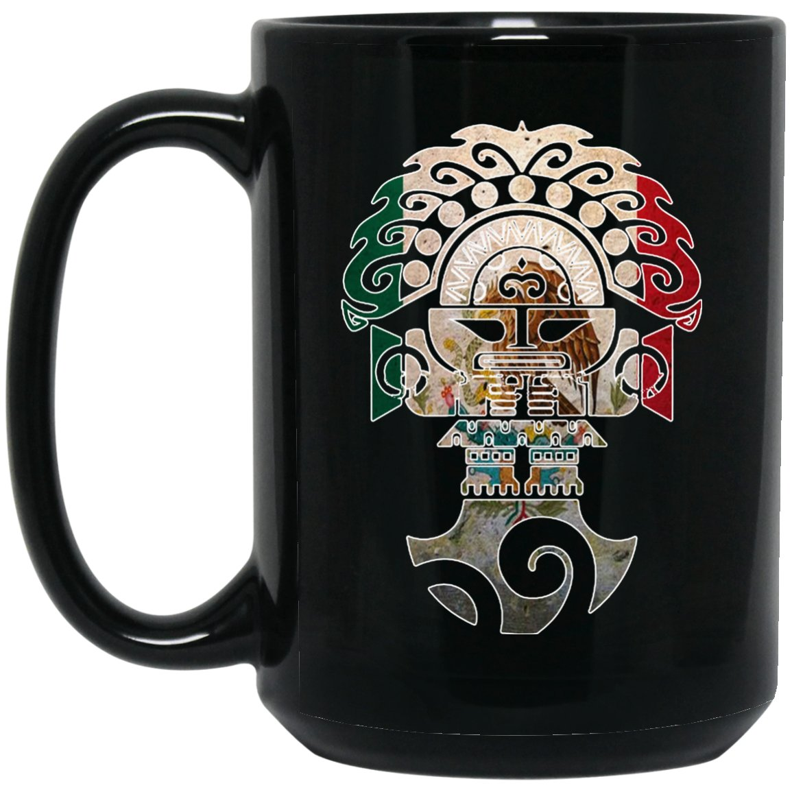 Cool Coffee Mug Mexican Flag Mug for Mexican Pride Tumi Outline Large Black Mug
