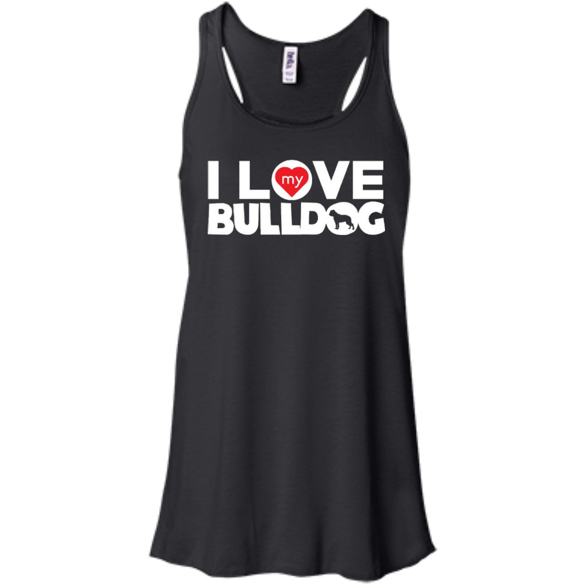 I Love My Bulldog - Bella+Canvas Flowy Racerback Tank