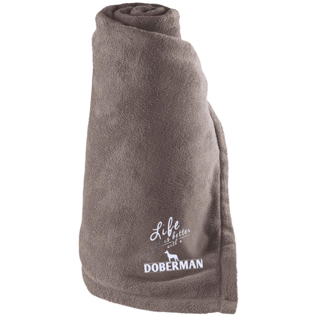 Doberman - Life Is Better With A Doberman Paws - Large Fleece Blanket