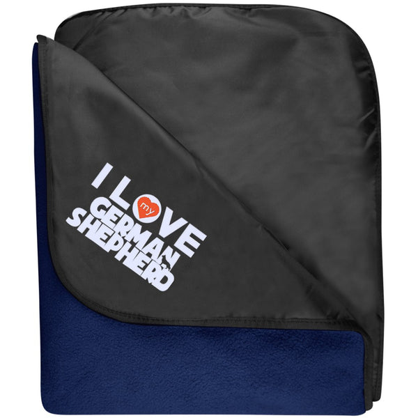 I Love My German Shepherd - Fleece & Poly Travel Blanket (Embroidered)