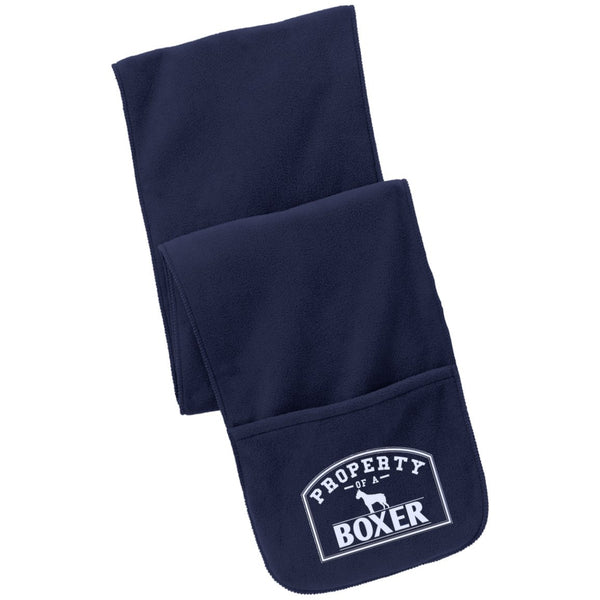 Boxer - Property Of A Boxer - Fleece Scarf with Pockets