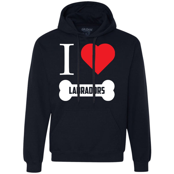 Labrador - I LOVE MY LABRADOR (BONE DESIGN) - Heavyweight Pullover Fleece Sweatshirt