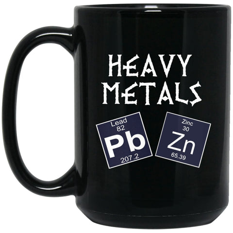 Funny Chemistry Mug - Heavy Metals Large Black Coffee Mug