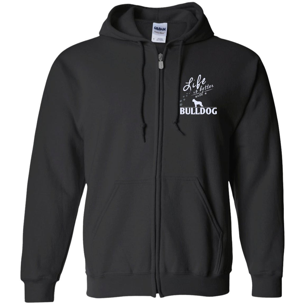 Bulldog - Life Is Better With A Bulldog Paws - Embroidered Zip Up Hooded Sweatshirt