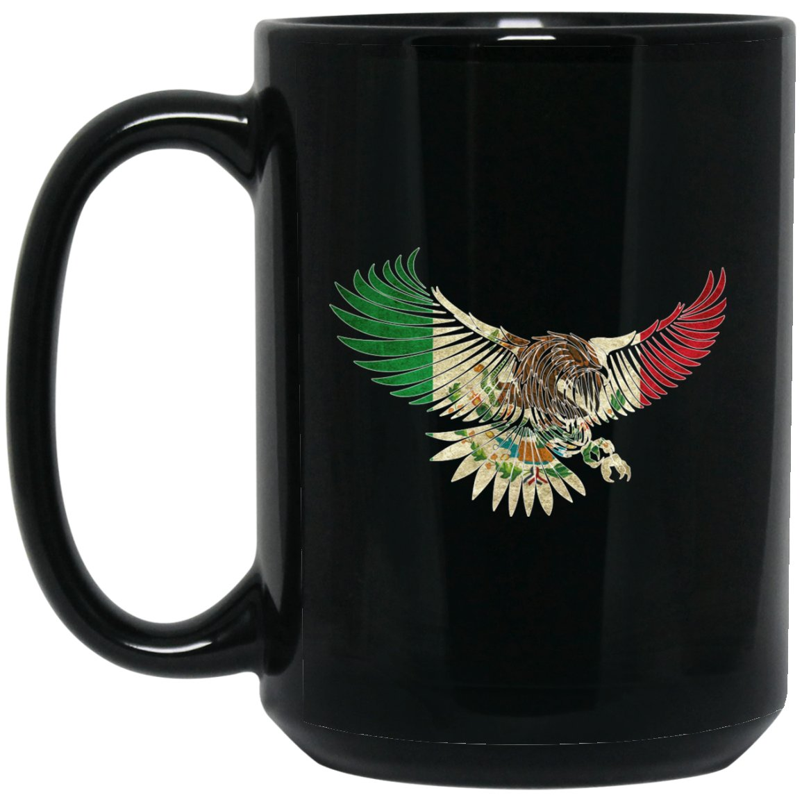 Cool Flying Eagle Vintage Coffee Mug Design Mexican Flag Mug for Mexican Pride Outline Large Black Mug