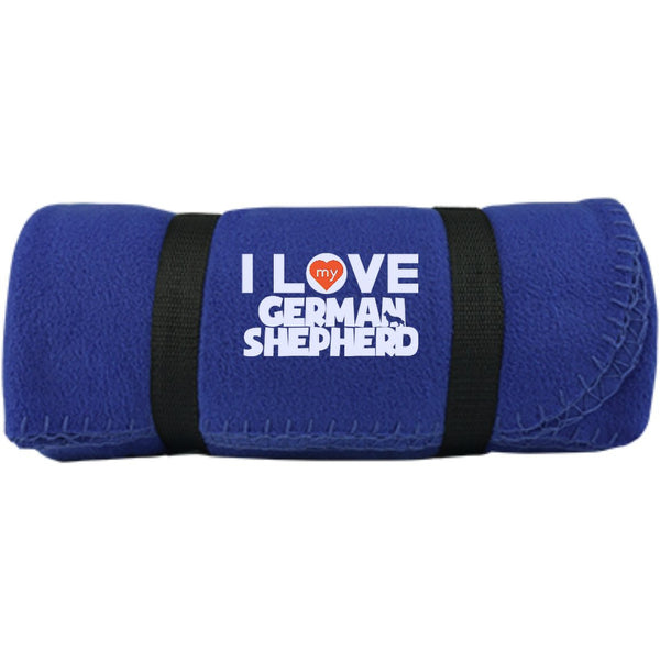 I Love My German Shepherd  -  Fleece Blanket (Embroidered)