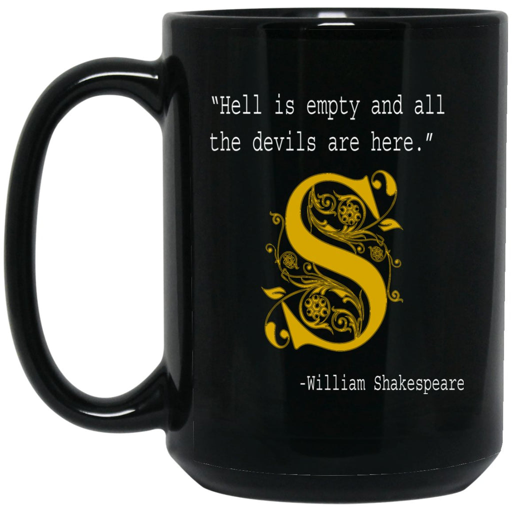 Book Lover Gift Hell Is Empty Shakespeare Large Black Mug