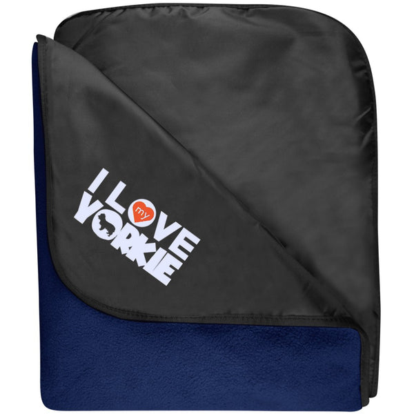 I Love My Yorkshire Terrier - Fleece & Poly Travel Blanket (Embroidered)