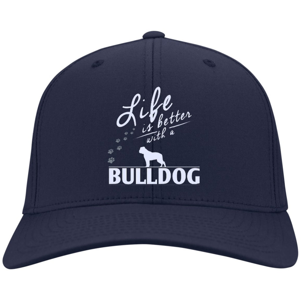 Bulldog - Life Is Better With A Bulldog Paws - Dry Zone Nylon Cap (Embroidered)