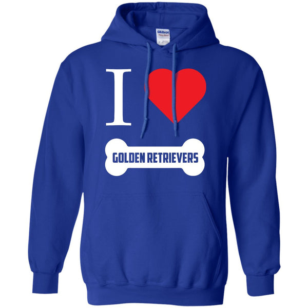 Golden Retriever- I LOVE MY GOLDEN RETRIEVER (BONE DESIGN) - Pullover Hoodie 8 oz