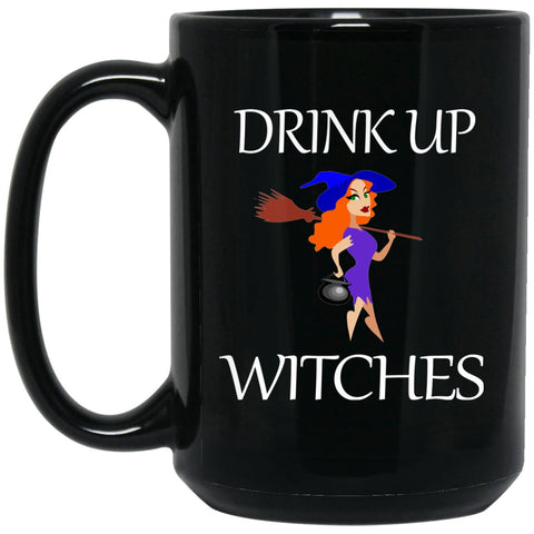 Funny Witch Drink Up Witches Large Black Mug