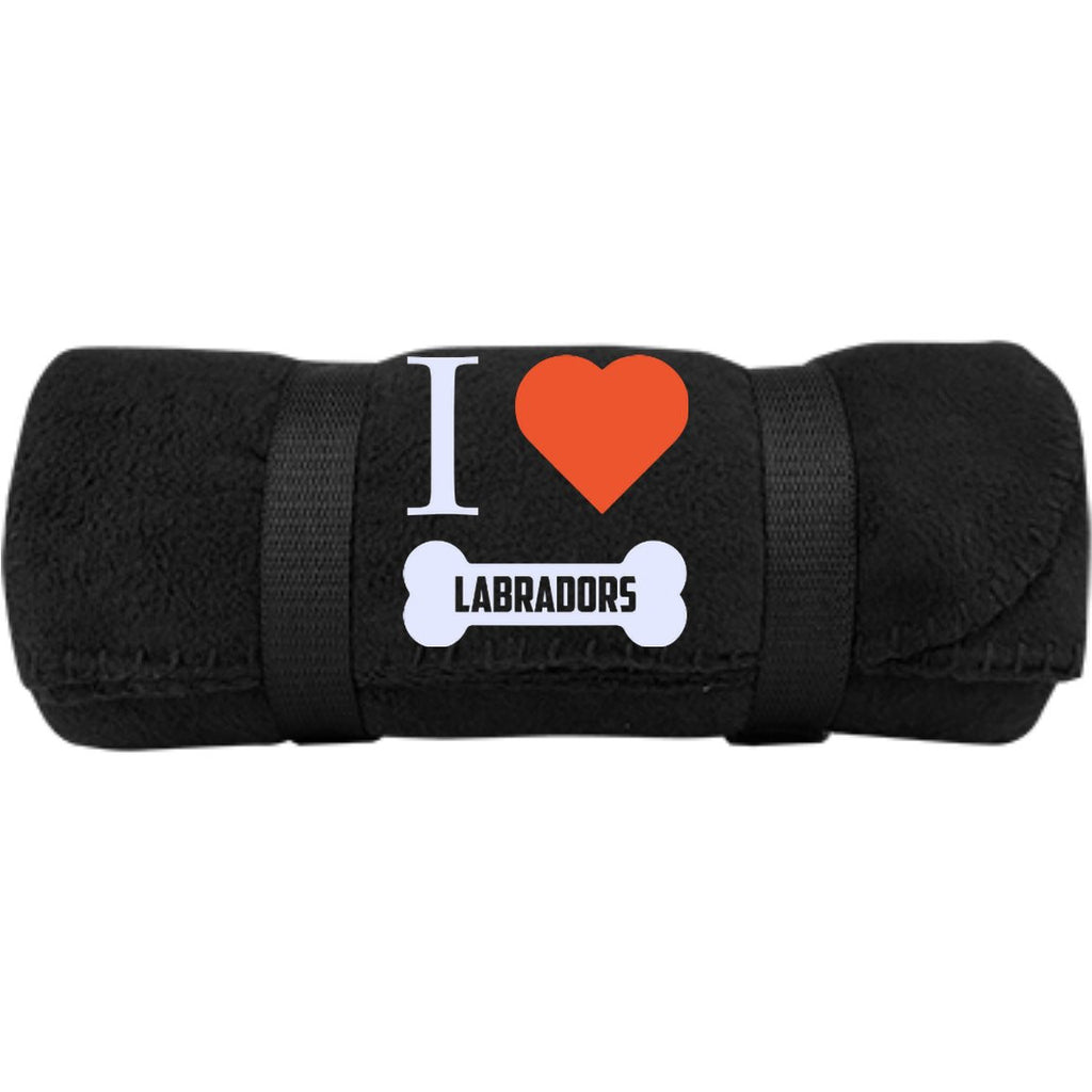 Labrador - I LOVE MY LABRADOR (BONE DESIGN) -  Fleece Blanket (Embroidered)