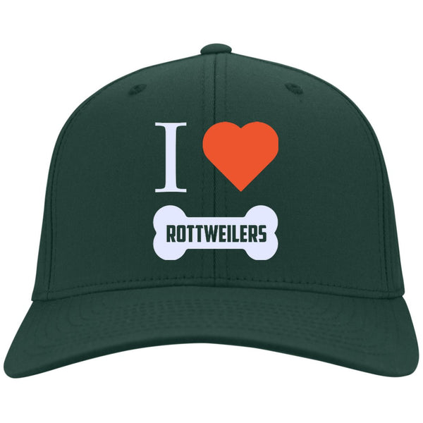 Rottweiler - I LOVE MY ROTTWEILER (BONE DESIGN) - Dry Zone Nylon Cap (Embroidered)