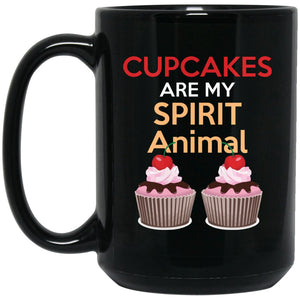 Funny Baking Gift - Cupcakes Are My Spirit Animal Mug - Great Bakers Gift Large Black Mug